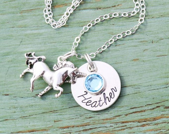Unicorn Gift • Girls Unicorn Necklace Birthday Present Unicorn Jewelry Sterling Silver Unicorn Charm Party Favor • Mythical Handstamped Gift