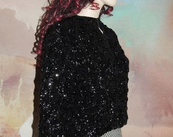 1950s Black Sequin Covered Cardigan Sweater Size Small