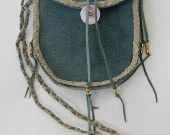Teal-Green and Tan Leather Shoulder Strap Bag