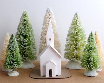 DIY Putz Church Ornament Kit Christmas Decoration Glitter House Paper Craft Kit Christmas Mantle Decor