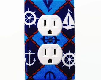 Nautical Outlet Cover - Nautical Switch Plate Cover - Nautical Nursery Decor
