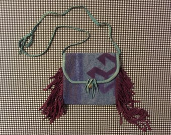 1990's, wooly, woven blanket, purse, with suede trim and fringe