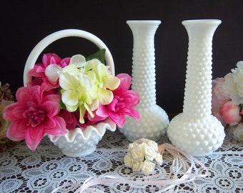 Fenton Hobnail White Milk Glass - Hobnail Milk Glass Basket - Hobnail Milk Glass Bud Vases - Wedding Milk Glass -  Hobnail White Milk Glass