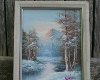 Vintage 1973 Mountain and Stream Original Painting
