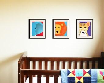 Safari nursery decor, jungle theme nursery. nursery artwork. Art for children, kids art, nursery art. SET OF ANY 3 prints by WallFry jungle