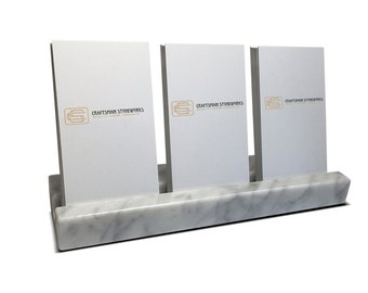 Multiple Verical Business Card Holder - White Carrara Marble - Holds 3 Vertical Cards - Office Desk Home, Desk Accessory, Recycled Marble