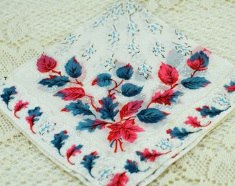 White Pink Blue Winter Fall Hankie #S-13