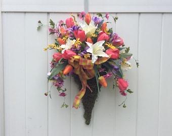 Spring Door Decor, Artificial Spring Flower Basket,  Tulips And Irises, Spring Arrangement, Easter Flower Basket, Made in Canada