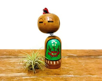 "Vintage Kokeshi Doll with Bobbing Head, Green Apron, 4"" Height"