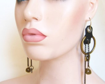 Oring earrings ,leather and brass, love warrior, gypsy,  Renegade Icon designs