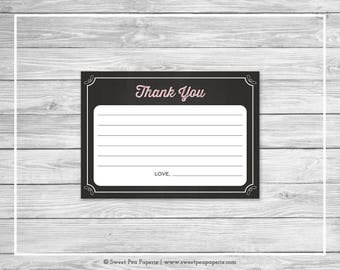 Chalkboard Baby Shower Thank You Cards - Printable Baby Shower Thank You Cards - Pink Chalkboard Baby Shower - Thank You Cards - SP155