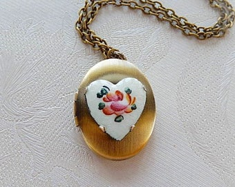 Heart Locket, Cloisonne Heart Necklace, Working Locket, Gift for Her