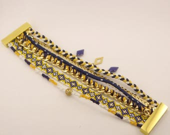 Upon request * magnetic cuff, blue, yellow, white and gold friendship bracelet, chain, suede braid, miyuki beads