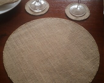 4x Round Burlap/Hessian Placemats for Weddings, Engagements, Celebrations, Parties etc.