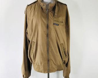 1980s Vintage Members Only Brown Cafe Racer Lightweight Jacket Coat Size 46