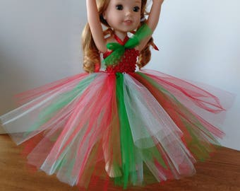 "14.5"" doll dance wear, red, green and white Tutu, ballet tutu, made to fit wellie wishers and glitter girls"