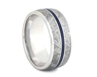 Meteorite Wedding Band With A Blue Enamel Pinstripe, 10k White Gold Ring, Enamel Jewelry