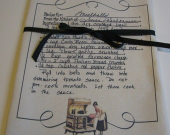 Handwritten Recipe Tea Towel Custom Recipe Flour Sack towels