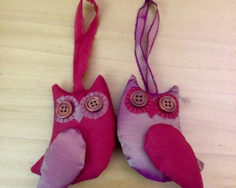 Pair of Owls - Bright Red & 2tone gold/magenta - Christmas Decorations/ tree ornaments