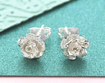 Silver Stud Earrings, Rose Studs, Flower Earrings, Nature Earrings, Bridesmaid Gift, Rose Earrings, Silver Rose, Silver Flower Studs, Silver