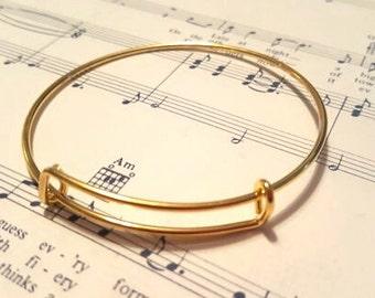 Expandable Bangle Bracelet - 5 pc. - Nickel Free - Blank Charm Bracelet - Gold Bangle Bracelet - Expandable Bracelet - Bangle Bracelet