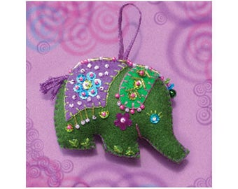 Sewing Kit / green sewing Elephant / complete creative DIY Sewing Kit