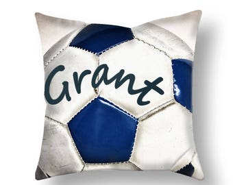 Customized Soccer Pillow Cover-Personalized Pillow Cover-Pillow Cover-Sports Decor-Linen Pillow Cover-Suede Pillow Cover-Soccer Pillow Case