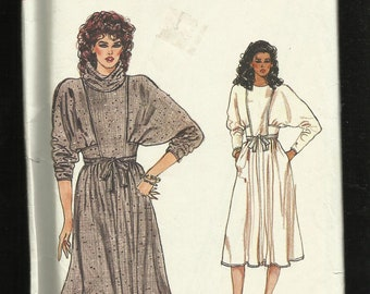 1980s Vogue 8516 Dress with Large Dolman Sleeves Front Bib Attached Sash & Separate Cowl Neck Collar Sizes 6-18-10 UNCUT
