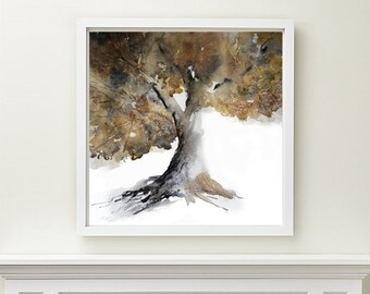 Tree Painting,  Tree Print, Tree  Art Print, Tree Artwork, Tree Watercolor Print Wall Art, Wall Decor, Square Print Art, Brown Illustration