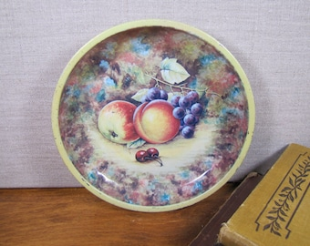 Small Daher Decorative Metal Bowl - Fruit Picture - Made in England