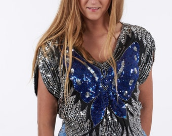Vintage 1980's Blue & Silver Butterfly Sequin Top - www.brickvintage.com