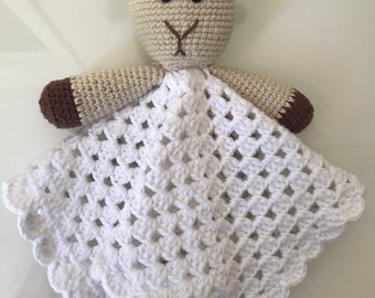 Crochet Sheep baby lovey blanket