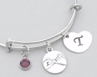 Pink swear charm bracelet with heart initial | pinky promise bracelet | personalised pinky promise / swear jewelry | friendship gift