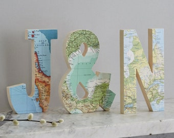 Set of three personalized location map letters - engagement gift - wedding gift - anniversary gift - world map gift - gift for a couple