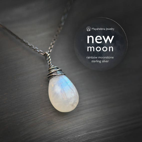 New Moon - Rainbow Moonstone Briolette Wire Wrapped Sterling Silver Necklace