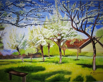 """Apple trees in Bloom. Mothers day gift. Valentines day gift. Original Oil Painting. Landscape Painting. Home Decor. 18""""x 24"""", 46 x 61 cm."""