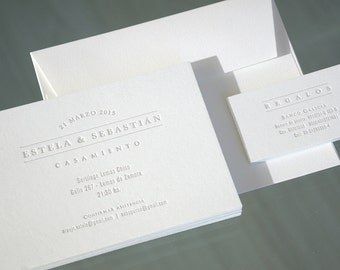 100 Letterpress Wedding invitations & small cards (envelopes included)