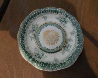 Antique 1800s White/Green Butter Pat Dish Hamilton John Maddock & Sons Gold Accents Scalloped Edges Flowers Royal Vitreous Small Dish