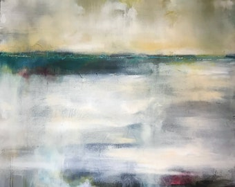 """Contemporary Abstract Modern Original landscape painting - Wall Art with writing and carvings. """"Storm over the Deschutes"""""""