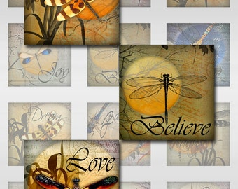 Dragonflies Moon Ephemera Botanical 1 and 2 Inch Instant Download for Glass Resin and Scrabble Tile Pendants Square Jpeg Images (S-3)