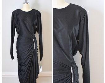 80s Dress / 80s Vintage Dress / Vintage Dress / 80s Glam / 80s Party Dress / Black / Jersey Dress / Body Hugging / Disco Dress / Size Small
