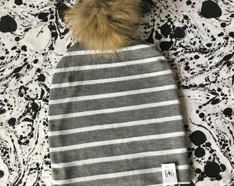 Baby Pom Pom Hat, Grey White Stripe Baby Hat, Fur Pom Pom, Baby Hat, Slouchy Hat, Slouchy Pom Pom, Beanie, Fur Pom, Faux Fur, Winter Baby Ha