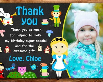 alice in wonderland thank you card, Tea party thank you card,mad hatter thank you card- DIGITAL FILE