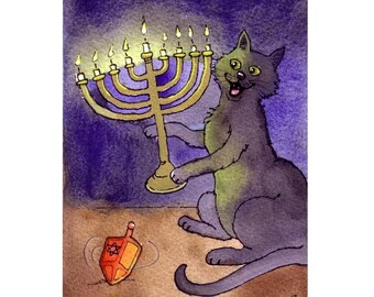 Cat Hanukkah Card, Cat Art, Cat Watercolor Painting Illustration Greeting Card Print