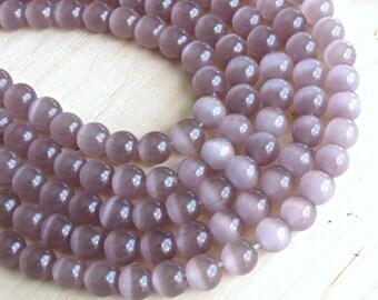 cats eye 8mm, Mauve glass beads, cats eye 8mm, imitation opal beads, Plum beads, reflection beads, holographic beads, purple beads, Mauve