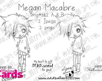 Digital Stamp Instant Download Big Eye Girl  ~ Megan Macabre  Image No. 382 A and B  by Lizzy Love