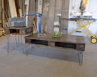 3 Piece Pallet Coffee table set w/ 2 end tables on Hairpin Legs