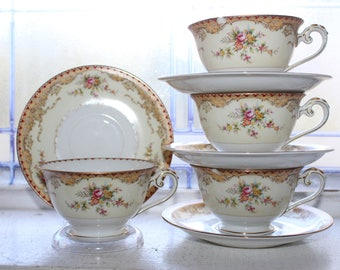 Vintage Meito China 4 Tea Cups & Saucers Derby Pattern 1940s