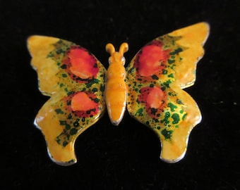 Lovely and serene vintage yellow and orange enameled butterfly brooch / pin with gold tone back. A light weight piece marked Made in Germany
