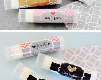 Personalized Chapstick - Bridal Shower  Lip Balm Favors - Unique Bridal Shower Favors - Personalized Lip Balm w/ Labels ( EB3031T) - 16| pcs